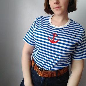 Vintage blue and white striped Anchor t-shirt